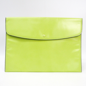 Valextra Unisex Leather Clutch Bag Lime Yellow