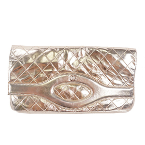 Auth Chanel 31(Trantean) Clutch Bag Women's Leather Clutch Bag Champagne Gold