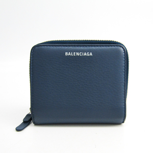 Balenciaga Paper Mini Wallet 391446 Unisex  Calfskin Wallet (bi-fold) Blue
