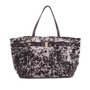 Auth Salvatore Ferragamo Tote Bag Vara Sequins Black Silver
