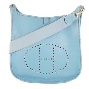 Hermes Evelyne Ⅰ □C Stamp Mark Women,Men,Unisex Taurillon Clemence Leather Shoulder Bag Blue Jean
