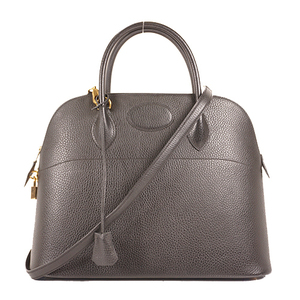 Hermes Bolide37 〇Y Stamp Mark Women's Ardennes Leather Handbag,Shoulder Bag Black