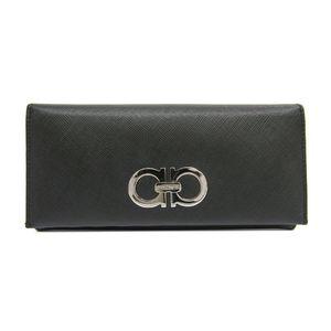 Salvatore Ferragamo Gancini 22-B481 Women's Long Wallet (bi-fold) Black
