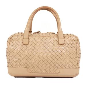Auth Bottega Veneta Intrecciato Leather Handbag Beige