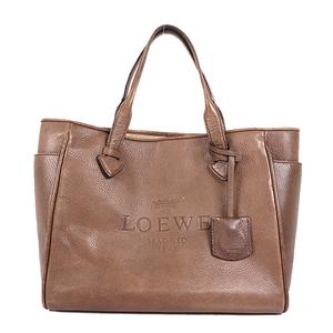 Auth Loewe  Handbag Leather Handbag Brown