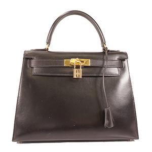 Hermes Kelly28 Women's Box Calf Leather Handbag,Shoulder Bag Black