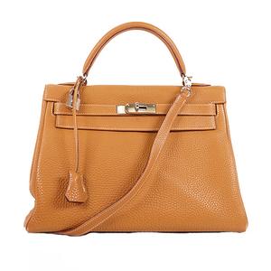 Hermes Kelly 32 Women's Togo Leather Handbag,Shoulder Bag Gold