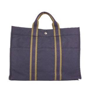Hermes Fool ToeMM Unisex,Women,Men Canvas Handbag,Tote Bag Navy