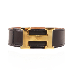 Hermes Constance □BStamp Mark Belt Women's Leather Belt Black,Gold