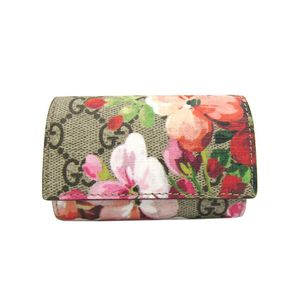 Gucci GG Blooms Women's Canvas Key Case Orange,Beige,Pink 410084
