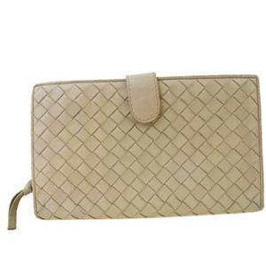 Bottega Veneta Intrecciato Round Zipper Leather Middle Wallet (bi-fold) Beige