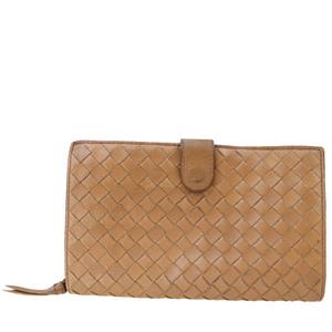 Bottega Veneta Intrecciato Round Zipper Leather Middle Wallet (bi-fold) Brown