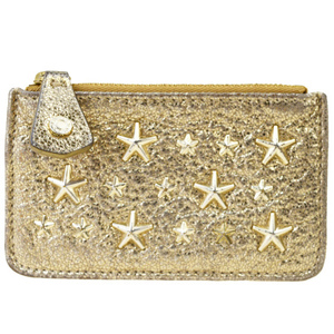Jimmy Choo Star Studs Leather Coin Purse/coin Case Gold