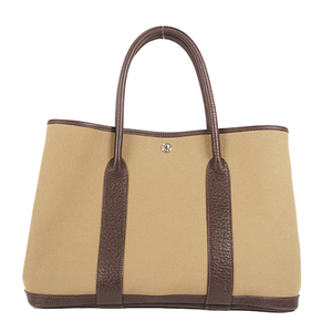 Auth Hermes Canvas Tote Bag Garden Party □G Stamp PM khaki