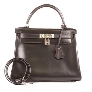 Hermes Kelly28 □lStamp Mark Women's Box Calf Leather Handbag,Shoulder Bag Black