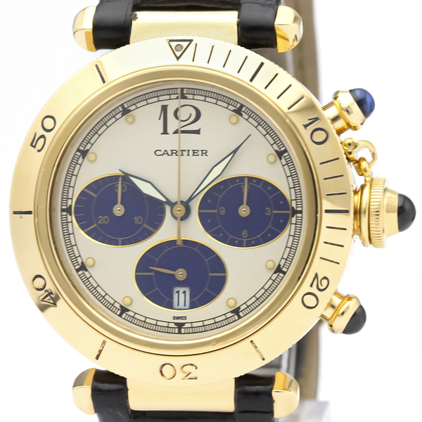 CARTIER Pasha 38 Chronograph 18K Gold Quartz Watch W3000951