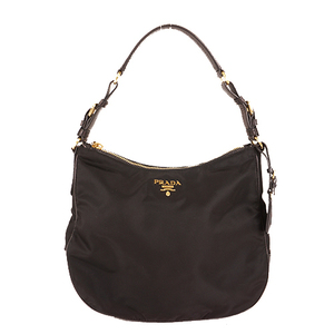 Auth Prada Shoulder Bag TESSUTO  Black Gold
