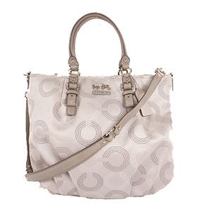 Coach Op Art F15939 Women's Canvas Handbag,Shoulder Bag Gray