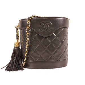 Chanel Matelasse Chain Shoulder With Fringe Women's Leather Shoulder Bag Black