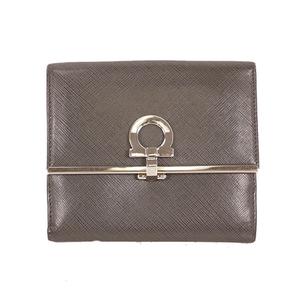 Salvatore Ferragamo Gancini Bi-fold Wallet Women's Leather Wallet (bi-fold) Gray