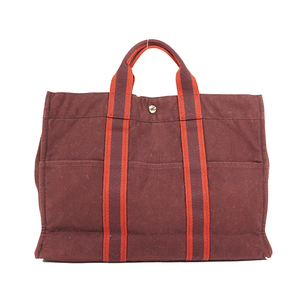 Auth Hermes Fourre Tout Tote Bag Canvas Brown