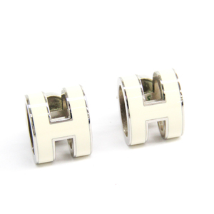 Hermes Pop H Lacquer,Metal Stud Earrings Ivory,Silver