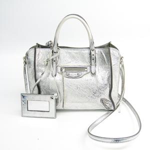 Balenciaga Paper Mini 357333 Women's Leather Handbag Silver