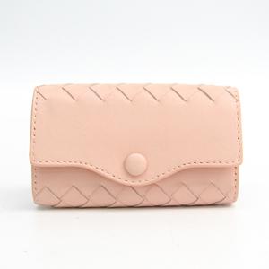 Bottega Veneta Intrecciato Unisex Leather Key Case Pale Orange