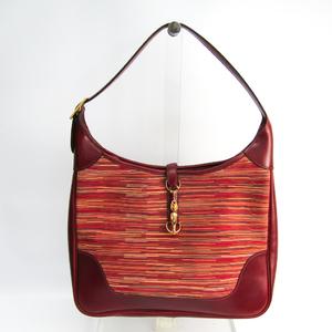 Hermes Trim 35 Women's Vibrato Leather Shoulder Bag Bordeaux,Multi-color