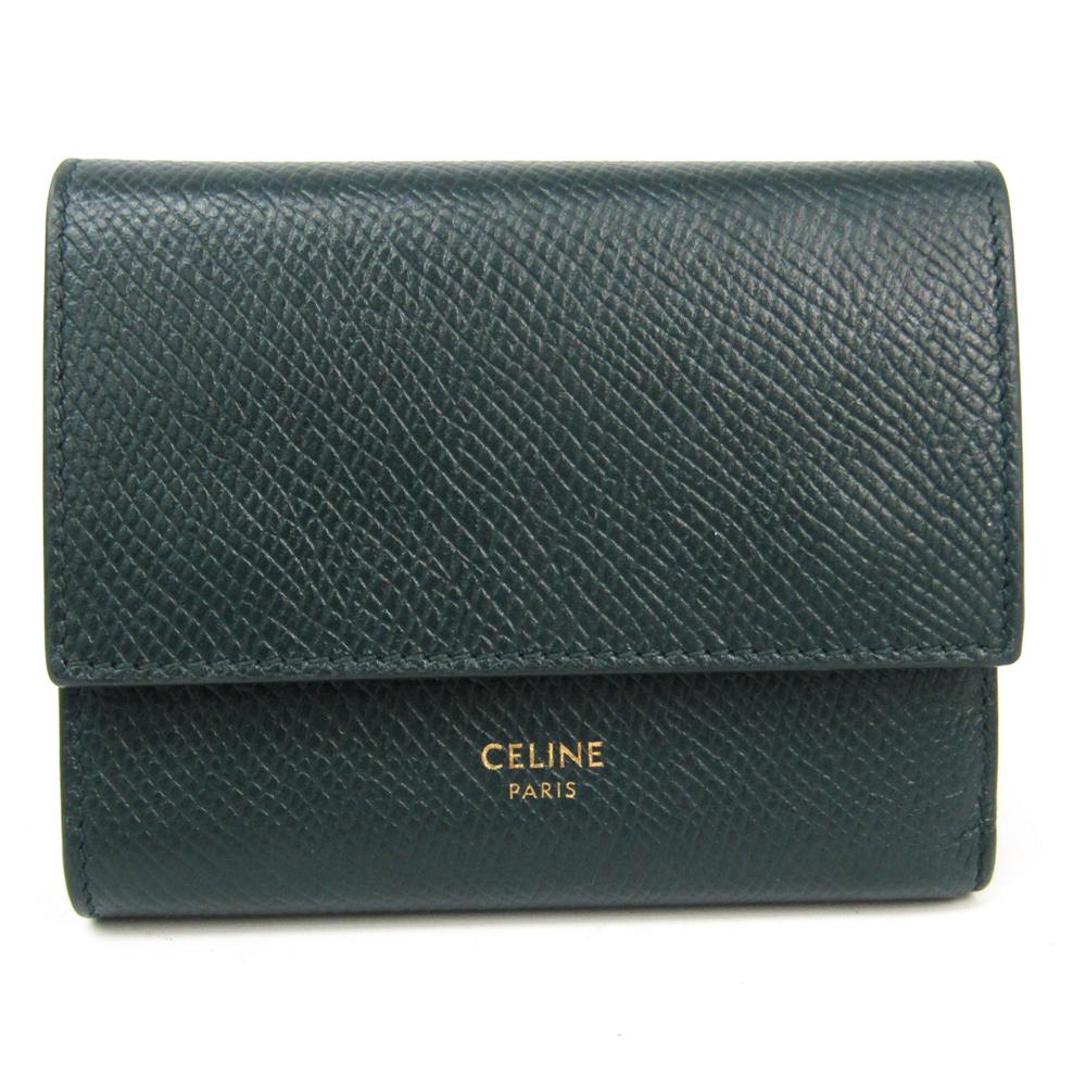 セリーヌ(Celine) 10B573 レディース  型押しカーフ 財布(三つ折り) ダークグリーン
