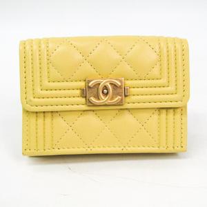 Chanel Boy Chanel Nano Wallet A84432 Women's  Calfskin Wallet (tri-fold) Yellow