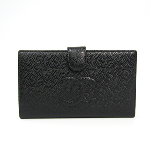 Chanel A13498 Caviar Leather Caviar Leather Long Wallet (bi-fold) Black