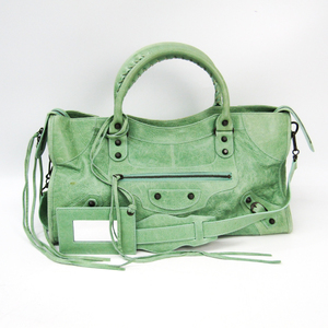 Balenciaga Part Time 168028 Women's Leather Handbag Light Green