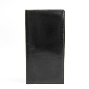 Hermes Unisex Box Calf Leather Long Bill Wallet (bi-fold) Black