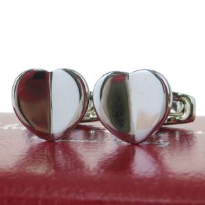 Ferragamo Metal Bullet Back/toggle Cufflinks Silver Heart-shaped