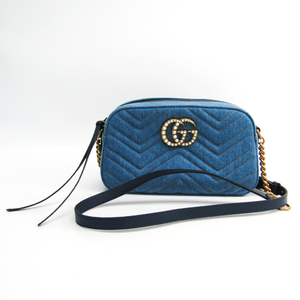 Gucci GG Marmont Japan Exclusive 447632 Women's Denim,Leather Shoulder Bag Blue