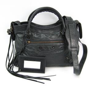 Balenciaga Town 240579 Women's Leather Handbag Dark Gray