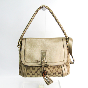 Gucci 282301 Women's GG Canvas,Leather Handbag Beige,Gold