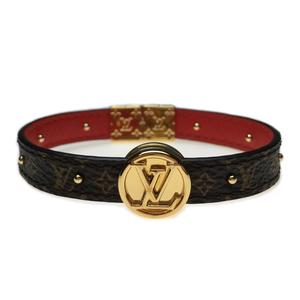Auth Louis Vuitton M6268E Brass Circle Reversible Bracelet Leather,Monogram Rouge