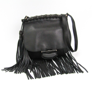 Gucci Fringe 347099 Women's Leather,Bamboo Shoulder Bag Black