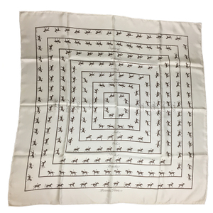 Auth Hermes Calle 90 Saut Galop Canter Rack Silk Scarf Animal Gray,White