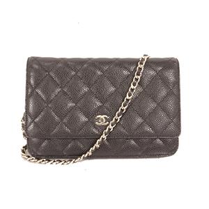 Chanel Caviar Skin Chain Wallet Single Chain Women's Caviar Leather Shoulder Bag Black