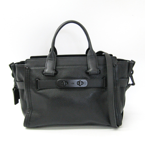 Coach Swagger Carry All 34408 Women's Leather Handbag Black