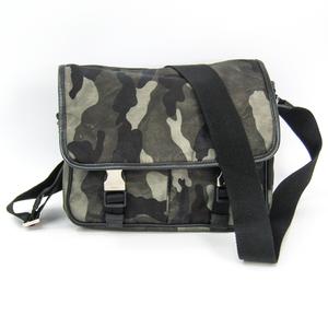 Prada VA0769 Women's Leather,Tessuto Shoulder Bag Black,Khaki