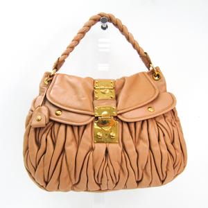 Miu Miu Matelasse RR1300 Women's Leather Shoulder Bag Beige