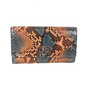 Fendi Women's  Python Long Wallet (bi-fold) Light Orange,Navy