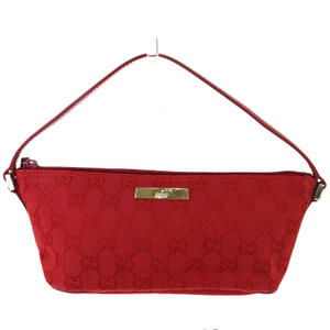 Gucci GG Pattern Canvas,Leather Handbag Red