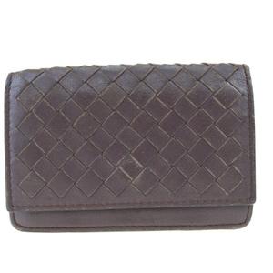Bottega Veneta Intrecciato Leather Business Card Case Brown