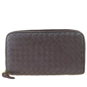 Bottega Veneta Intrecciato Round Zipper Leather Wallet Brown