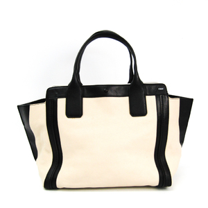 Chloé ALISON 3S0164-703 Women's Leather Tote Bag Ivory,Black